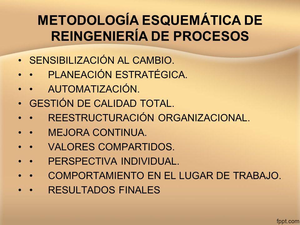 METODOLOGÍA ESQUEMÁTICA DE REINGENIERÍA DE PROCESOS