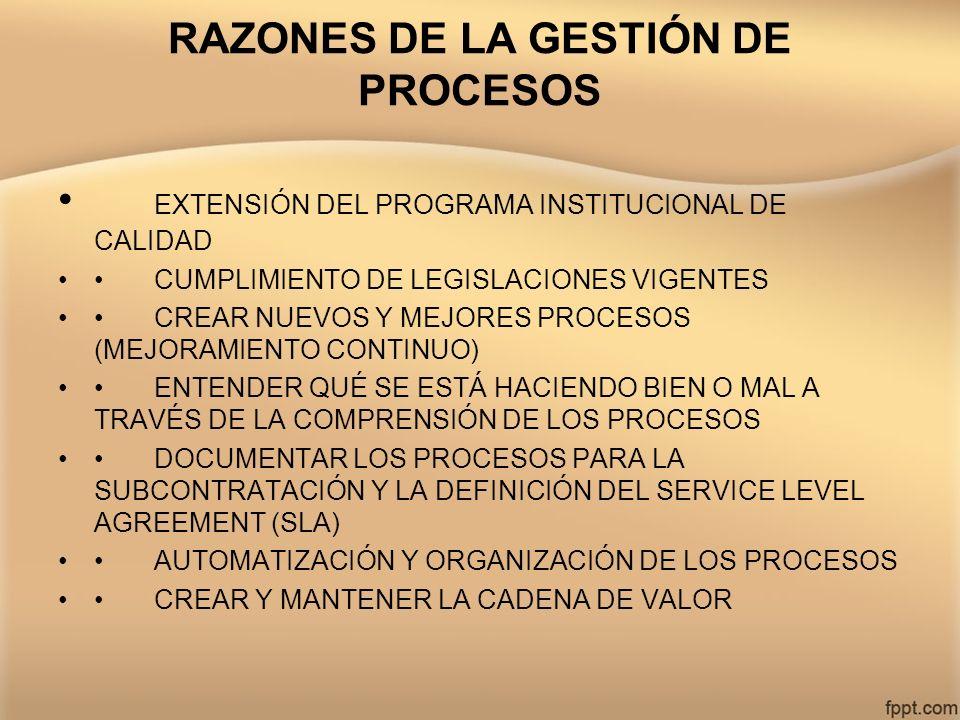 RAZONES DE LA GESTIÓN DE PROCESOS