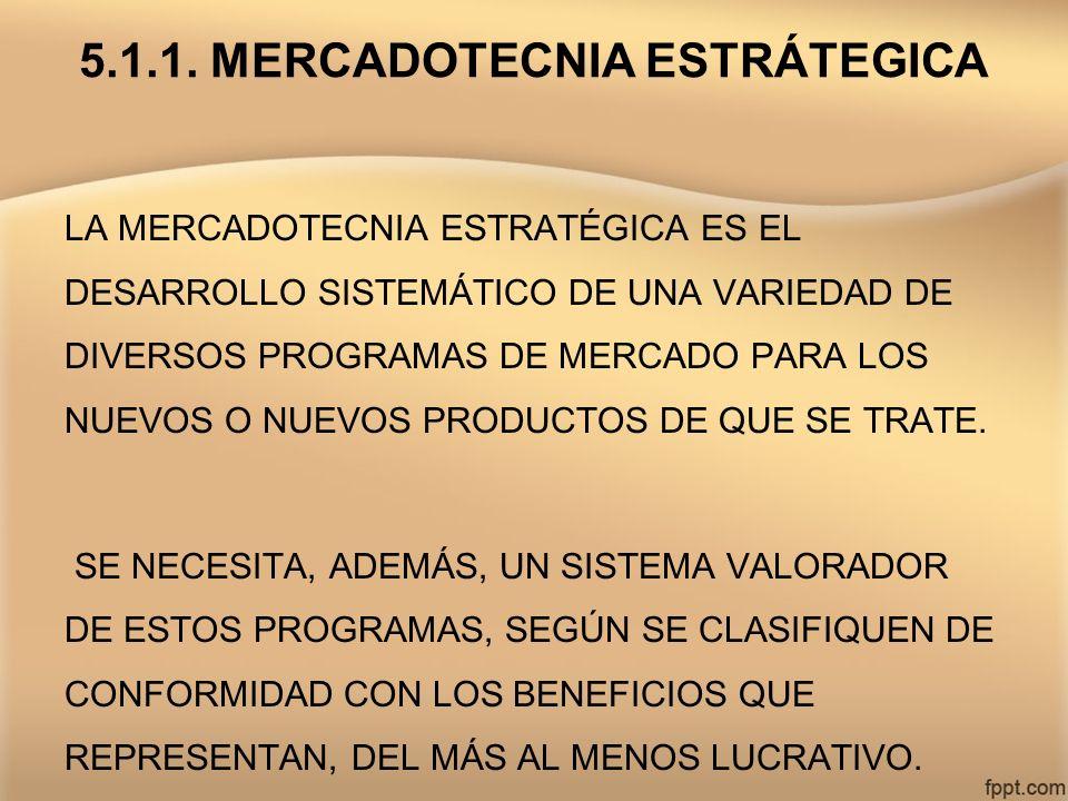 5.1.1. MERCADOTECNIA ESTRÁTEGICA