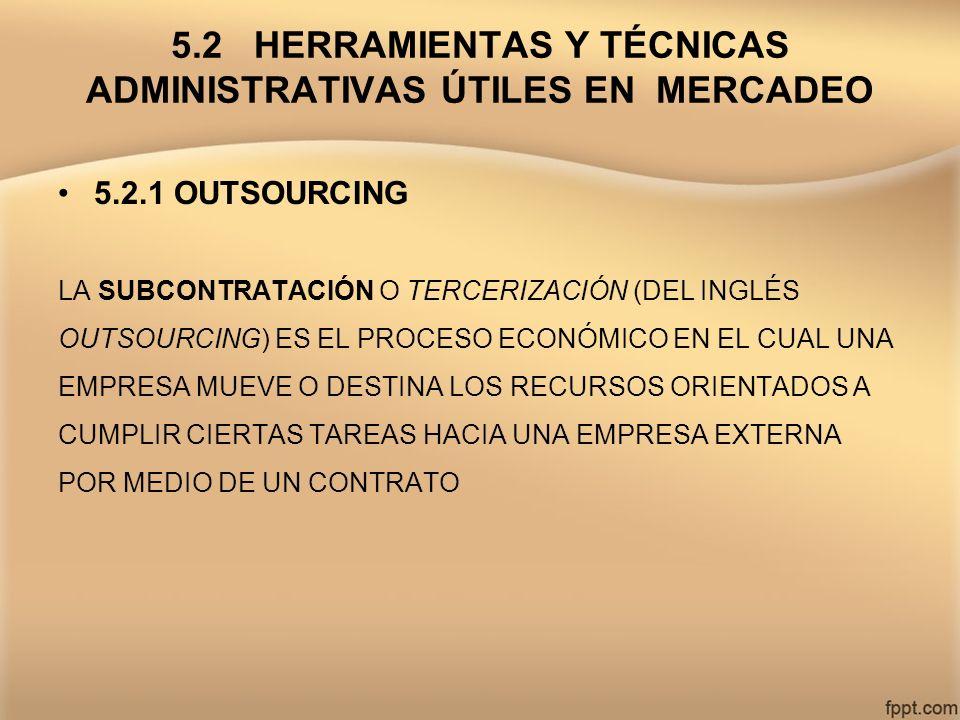 5.2 HERRAMIENTAS Y TÉCNICAS ADMINISTRATIVAS ÚTILES EN MERCADEO