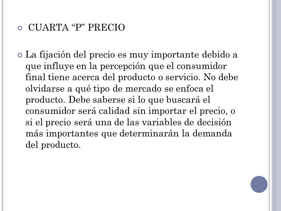 CUARTA P PRECIO