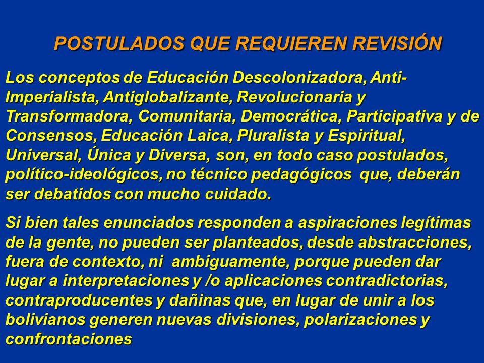 POSTULADOS QUE REQUIEREN REVISIÓN