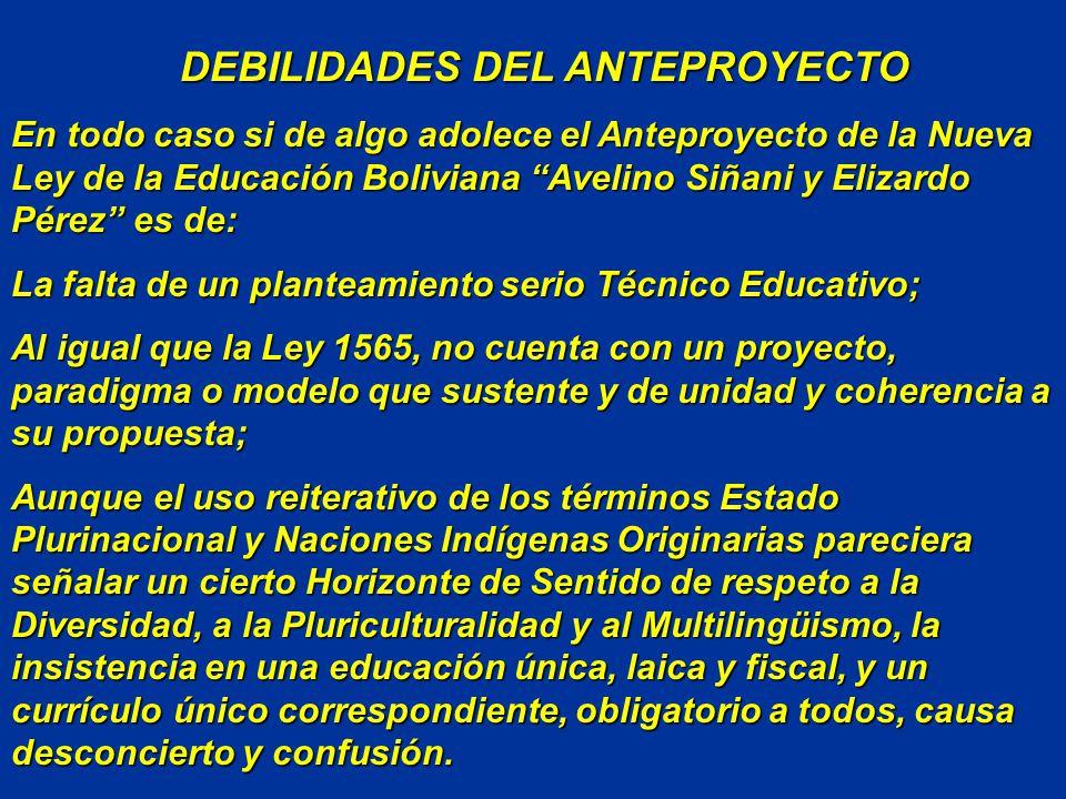 DEBILIDADES DEL ANTEPROYECTO