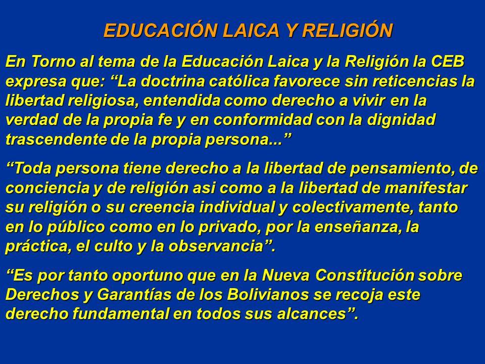 EDUCACIÓN LAICA Y RELIGIÓN