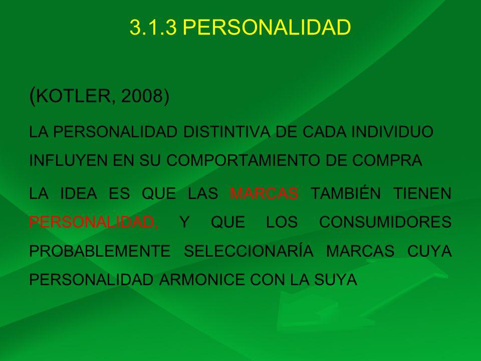 3.1.3 PERSONALIDAD (KOTLER, 2008)