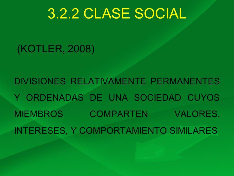 3.2.2 CLASE SOCIAL (KOTLER, 2008)