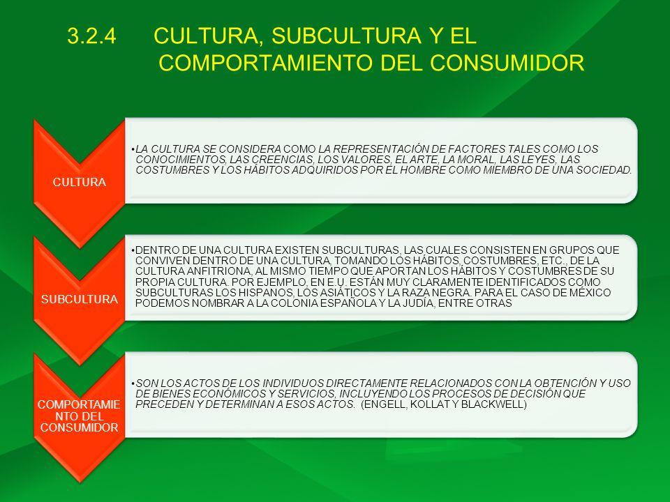 3.2.4 CULTURA, SUBCULTURA Y EL COMPORTAMIENTO DEL CONSUMIDOR