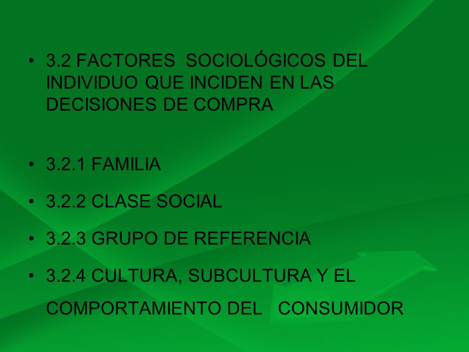3.2 FACTORES SOCIOLÓGICOS DEL INDIVIDUO QUE INCIDEN EN LAS DECISIONES DE COMPRA