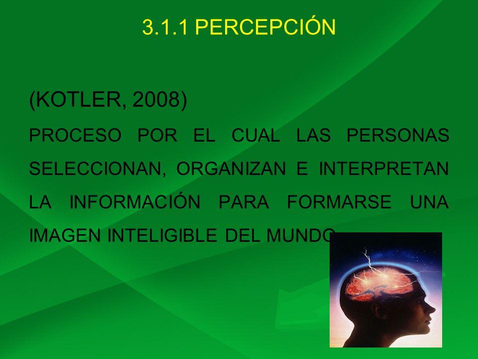 3.1.1 PERCEPCIÓN (KOTLER, 2008)