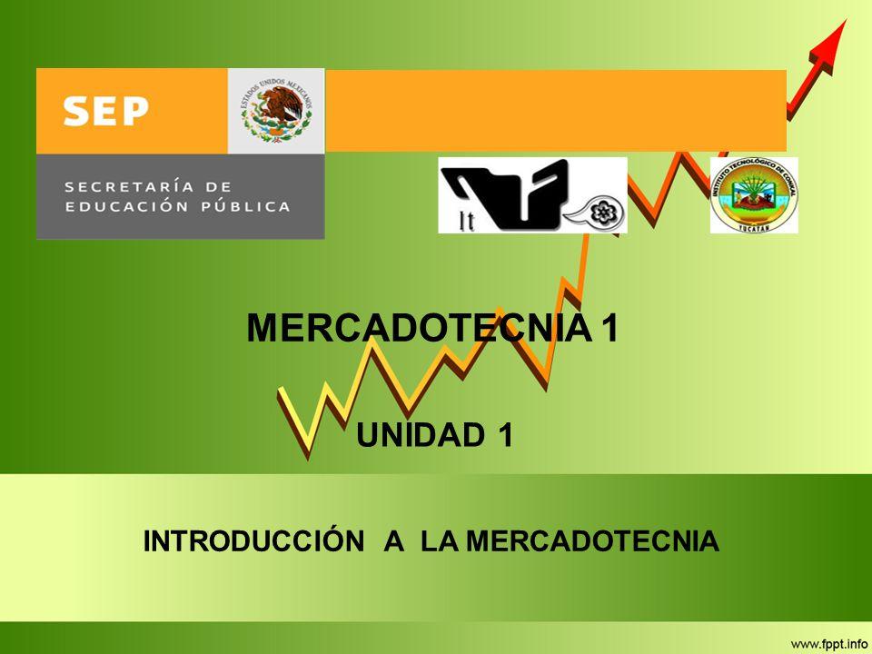 MERCADOTECNIA 1 UNIDAD 1 INTRODUCCIÓN A LA MERCADOTECNIA