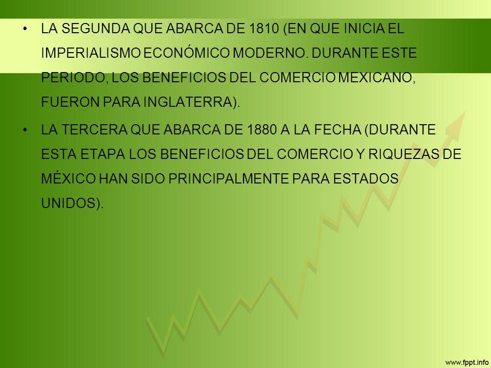 LA SEGUNDA QUE ABARCA DE 1810 (EN QUE INICIA EL IMPERIALISMO ECONÓMICO MODERNO. DURANTE ESTE PERIODO, LOS BENEFICIOS DEL COMERCIO MEXICANO, FUERON PARA INGLATERRA).