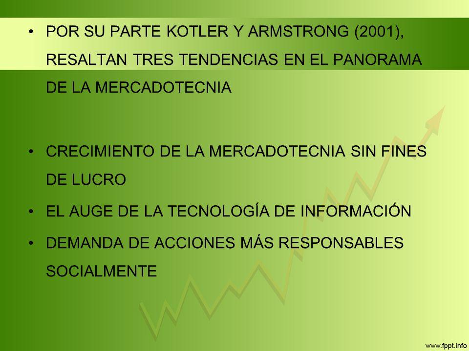 POR SU PARTE KOTLER Y ARMSTRONG (2001), RESALTAN TRES TENDENCIAS EN EL PANORAMA DE LA MERCADOTECNIA