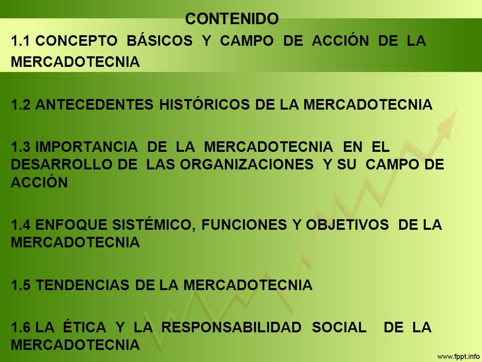 CONTENIDO 1.1 CONCEPTO BÁSICOS Y CAMPO DE ACCIÓN DE LA MERCADOTECNIA