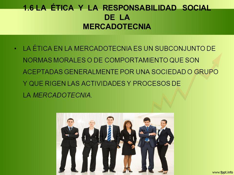 1.6 LA ÉTICA Y LA RESPONSABILIDAD SOCIAL DE LA MERCADOTECNIA