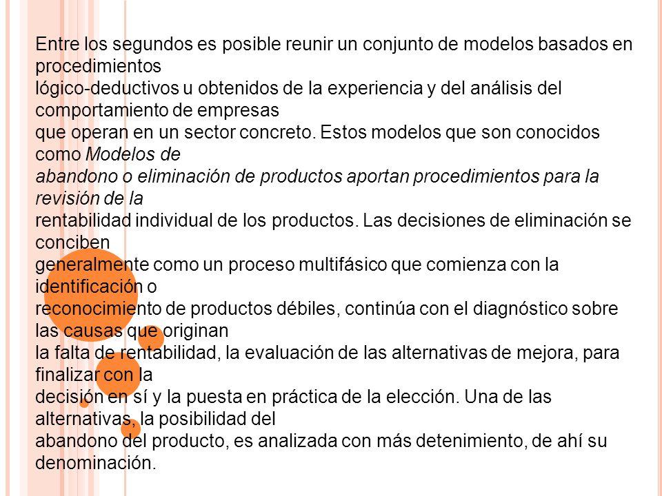 Entre los segundos es posible reunir un conjunto de modelos basados en procedimientos