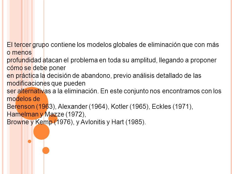 El tercer grupo contiene los modelos globales de eliminación que con más o menos