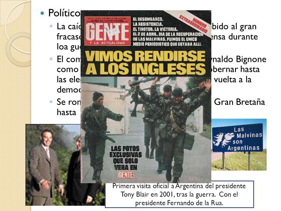 Políticos:La caída del régimen militar argentino, debido al gran fracaso militar y la manipulación de la prensa durante loa guerra a su favor.