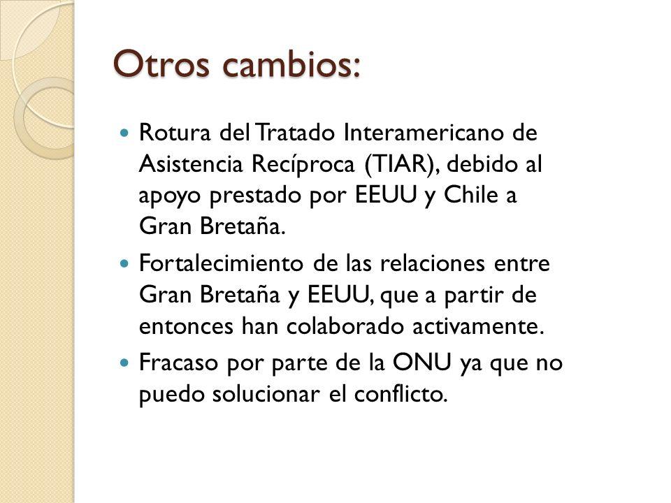 Otros cambios:Rotura del Tratado Interamericano de Asistencia Recíproca (TIAR), debido al apoyo prestado por EEUU y Chile a Gran Bretaña.