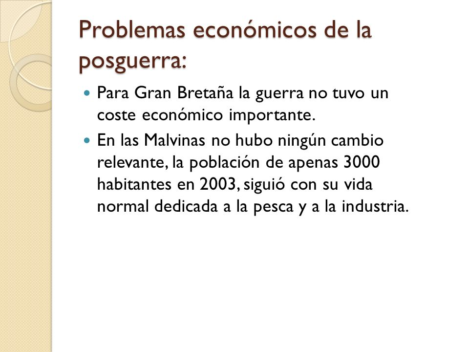 Problemas económicos de la posguerra: