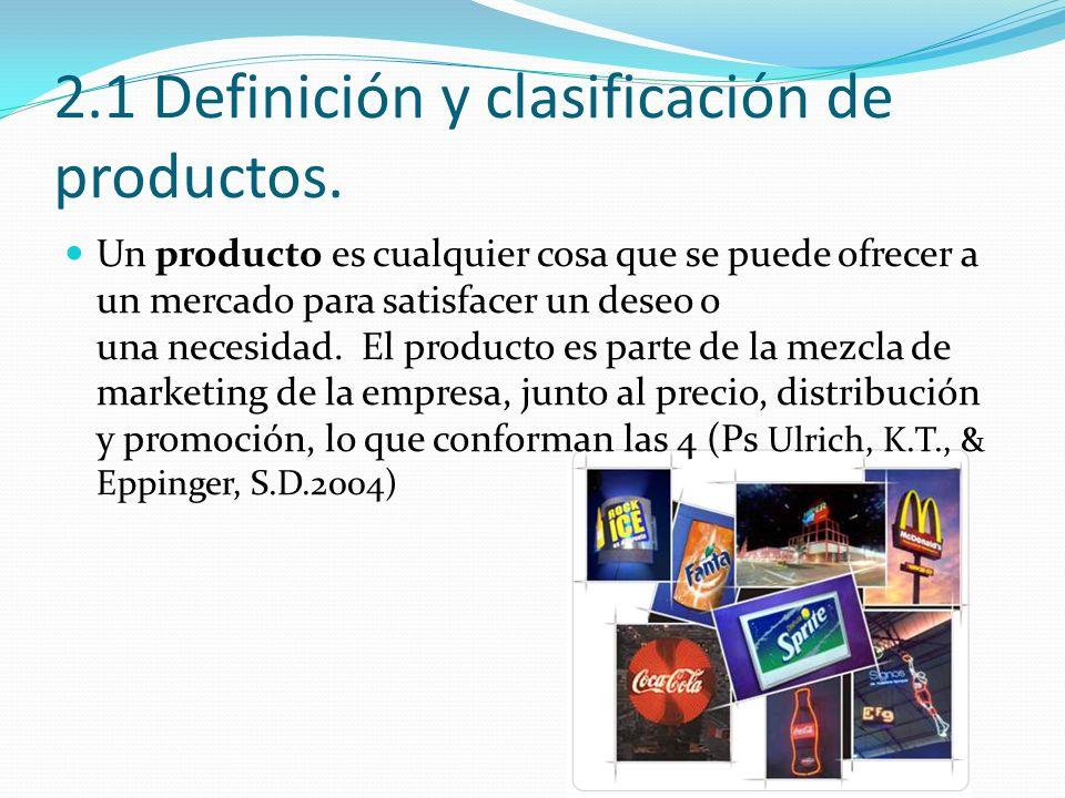 2.1 Definición y clasificación de productos.