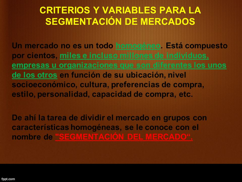 CRITERIOS Y VARIABLES PARA LA SEGMENTACIÓN DE MERCADOS