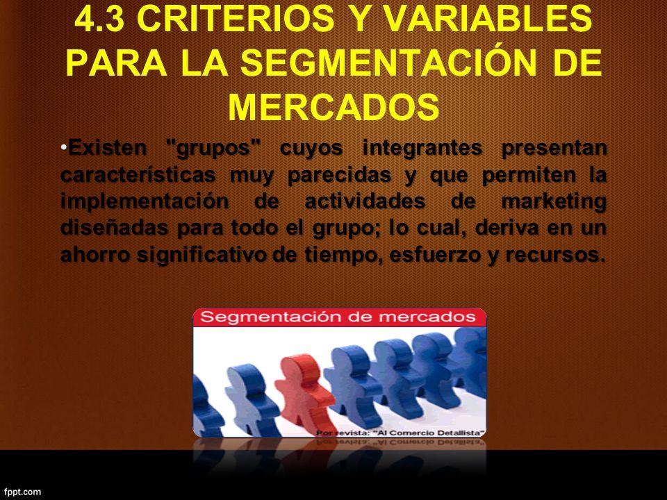 4.3 CRITERIOS Y VARIABLES PARA LA SEGMENTACIÓN DE MERCADOS