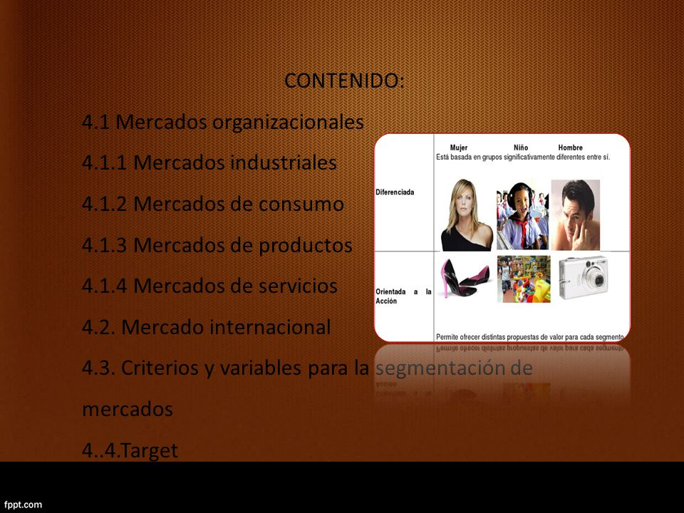 CONTENIDO: 4.1 Mercados organizacionales. 4.1.1 Mercados industriales. 4.1.2 Mercados de consumo.