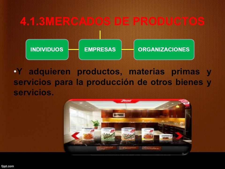 4.1.3MERCADOS DE PRODUCTOS Y adquieren productos, materias primas y servicios para la producción de otros bienes y servicios.
