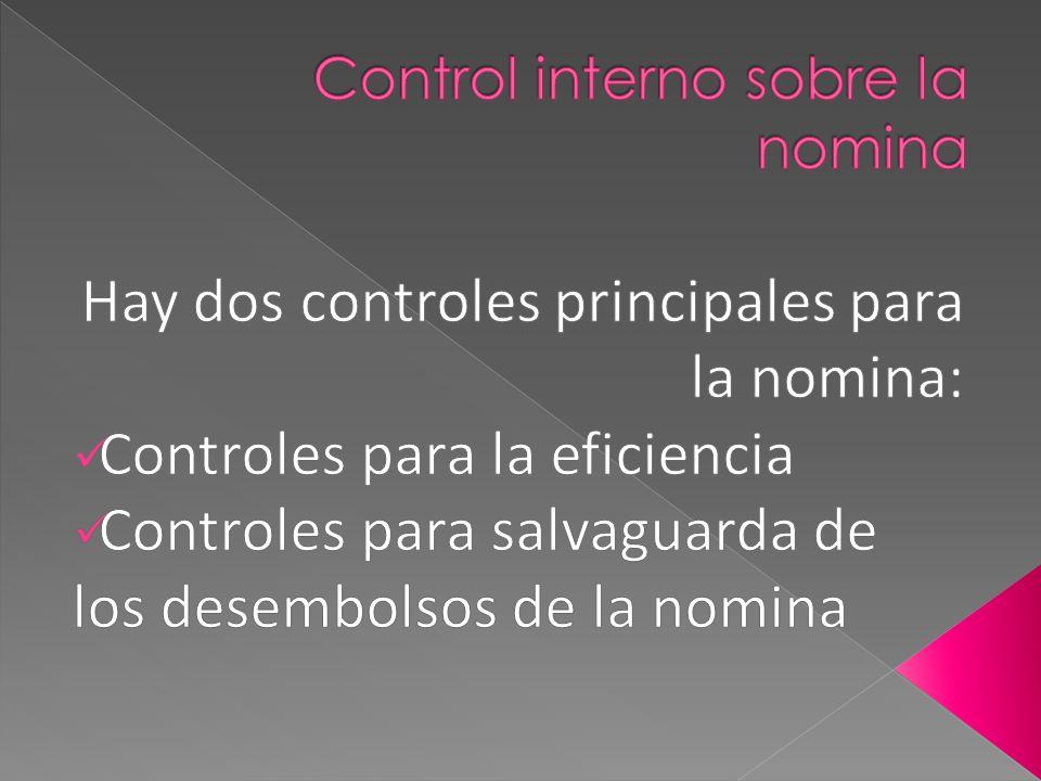 Control interno sobre la nomina
