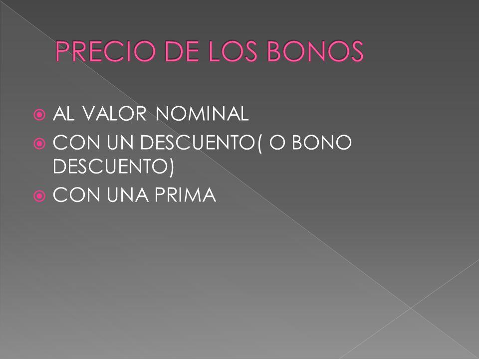 PRECIO DE LOS BONOS AL VALOR NOMINAL