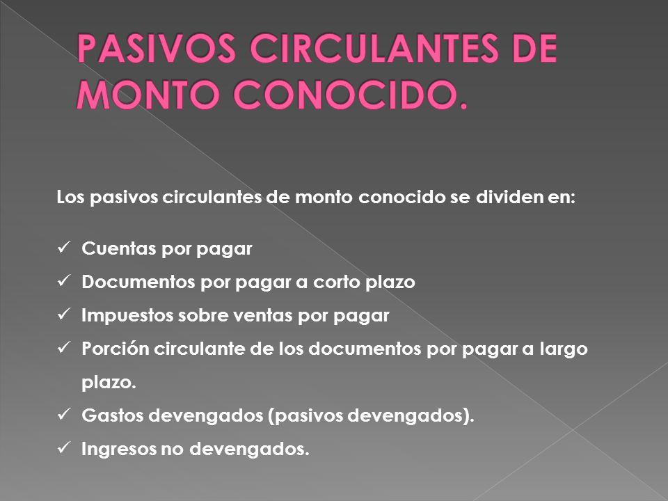 PASIVOS CIRCULANTES DE MONTO CONOCIDO.