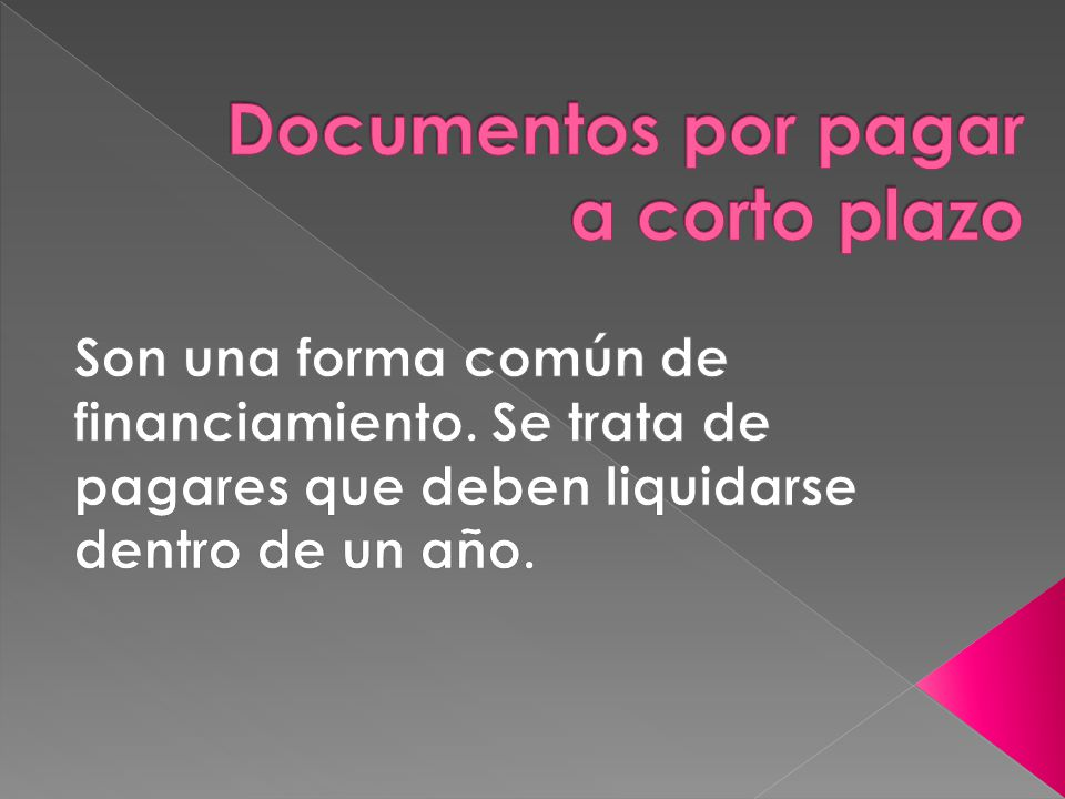 Documentos por pagar a corto plazo