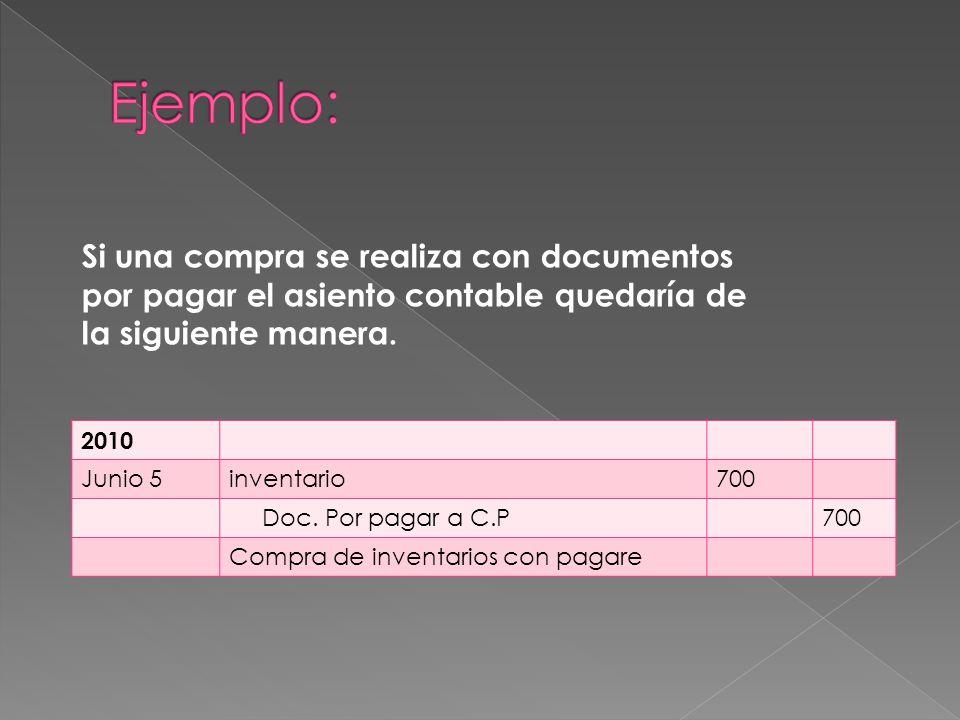 Ejemplo: Si una compra se realiza con documentos por pagar el asiento contable quedaría de la siguiente manera.