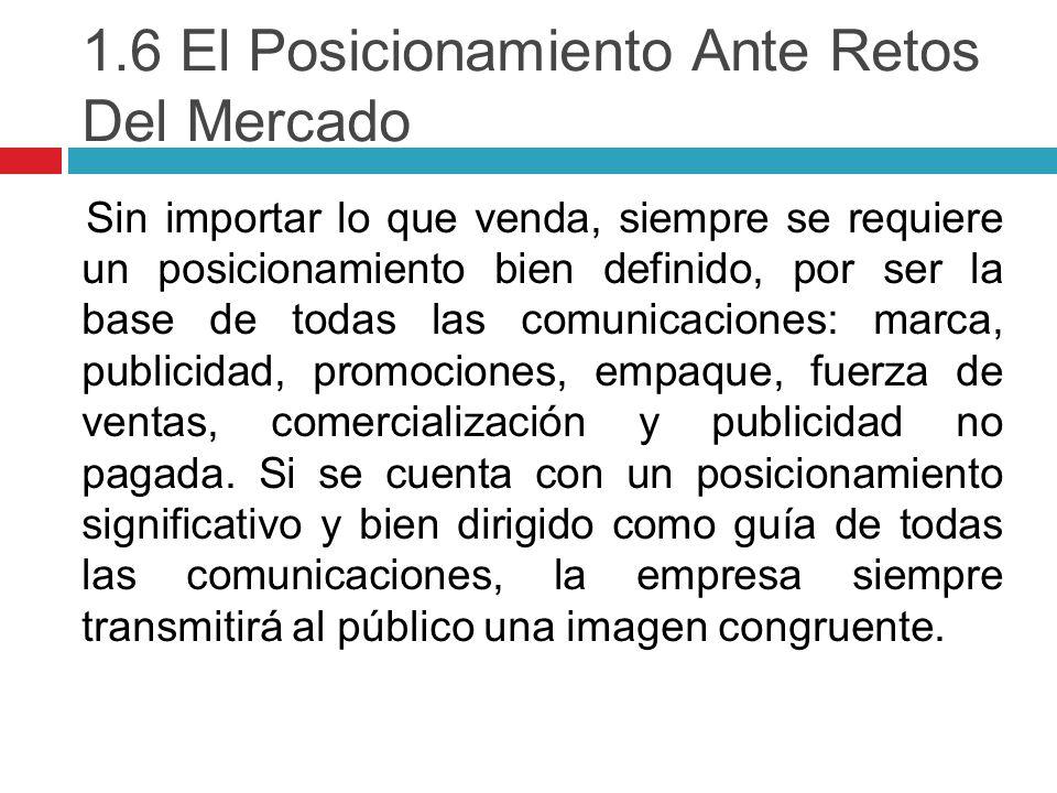1.6 El Posicionamiento Ante Retos Del Mercado
