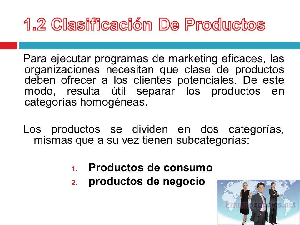 1.2 Clasificación De Productos