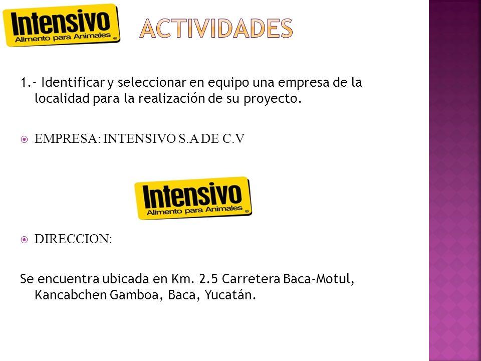ACTIVIDADES 1.- Identificar y seleccionar en equipo una empresa de la localidad para la realización de su proyecto.