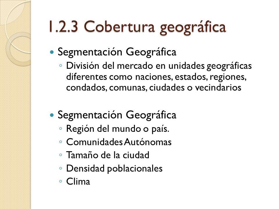 1.2.3 Cobertura geográfica Segmentación Geográfica