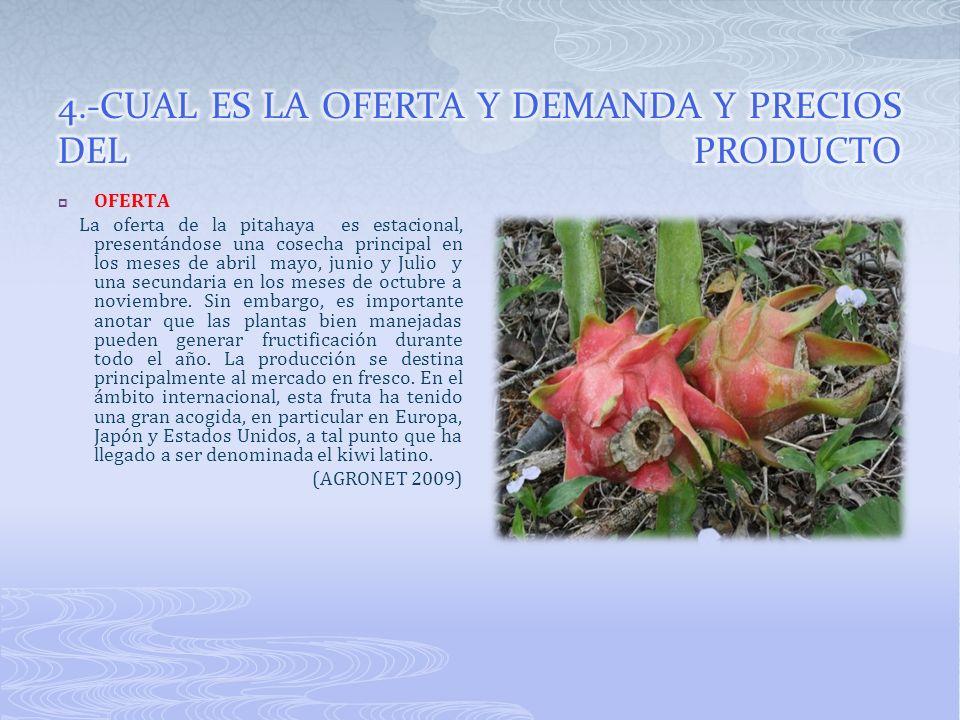 4.-CUAL ES LA OFERTA Y DEMANDA Y PRECIOS DEL PRODUCTO
