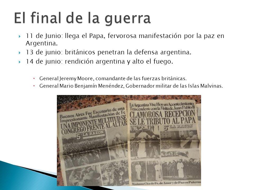 El final de la guerra11 de Junio: llega el Papa, fervorosa manifestación por la paz en Argentina.