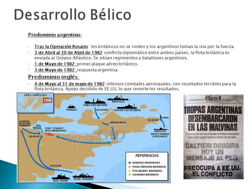 Desarrollo Bélico Predominio inglés: Predominio argentino: