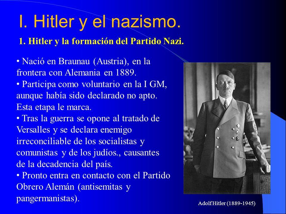 I. Hitler y el nazismo. 1. Hitler y la formación del Partido Nazi.