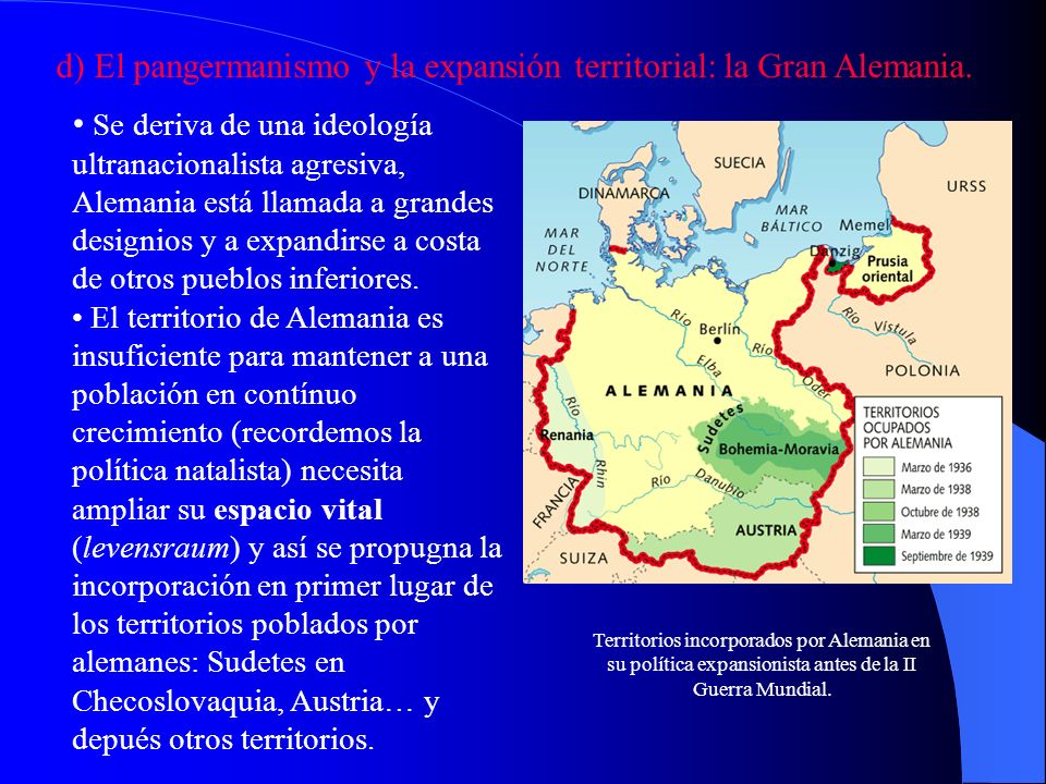 d) El pangermanismo y la expansión territorial: la Gran Alemania.