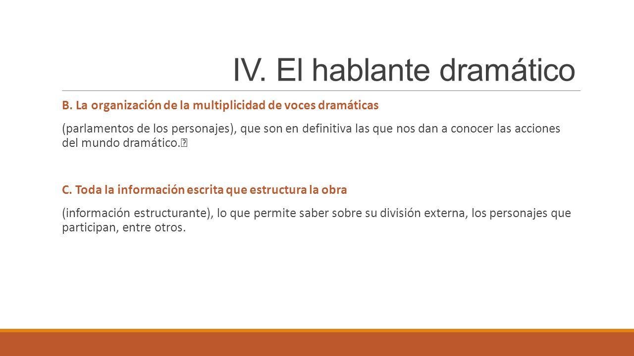 IV. El hablante dramático