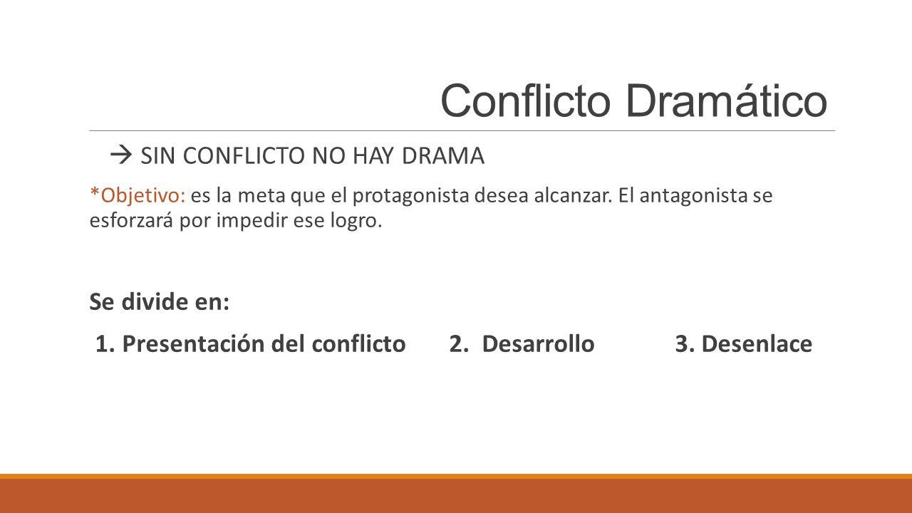 Conflicto Dramático  SIN CONFLICTO NO HAY DRAMA Se divide en: