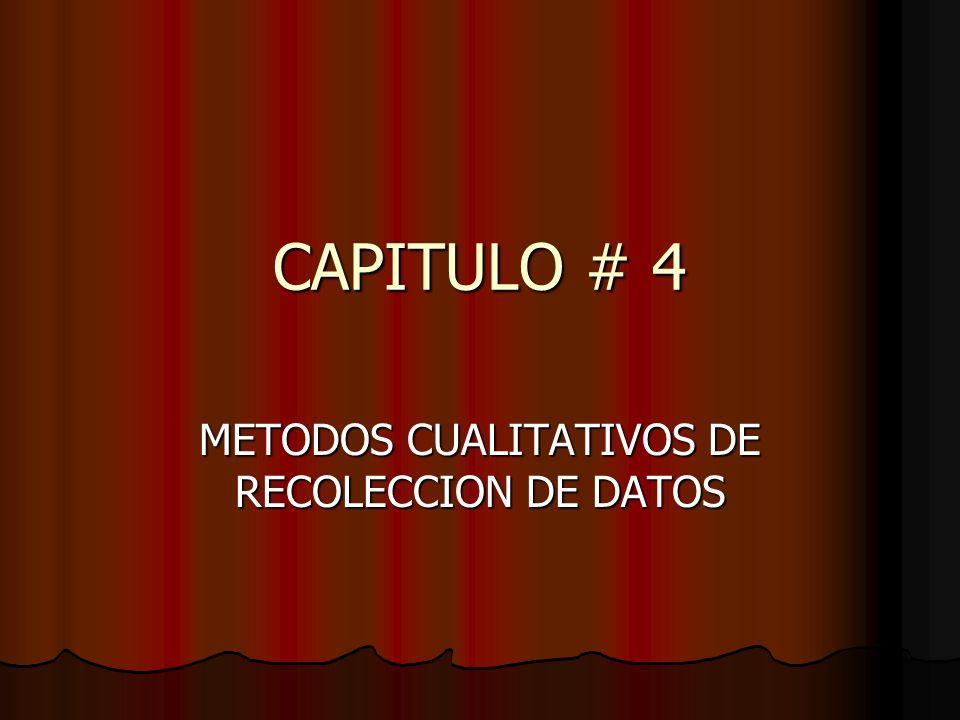 METODOS CUALITATIVOS DE RECOLECCION DE DATOS