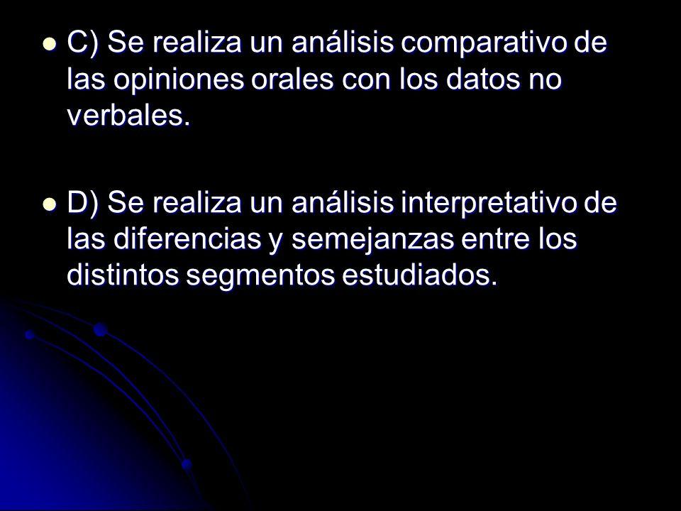 C) Se realiza un análisis comparativo de las opiniones orales con los datos no verbales.