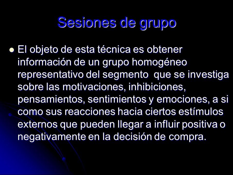 Sesiones de grupo