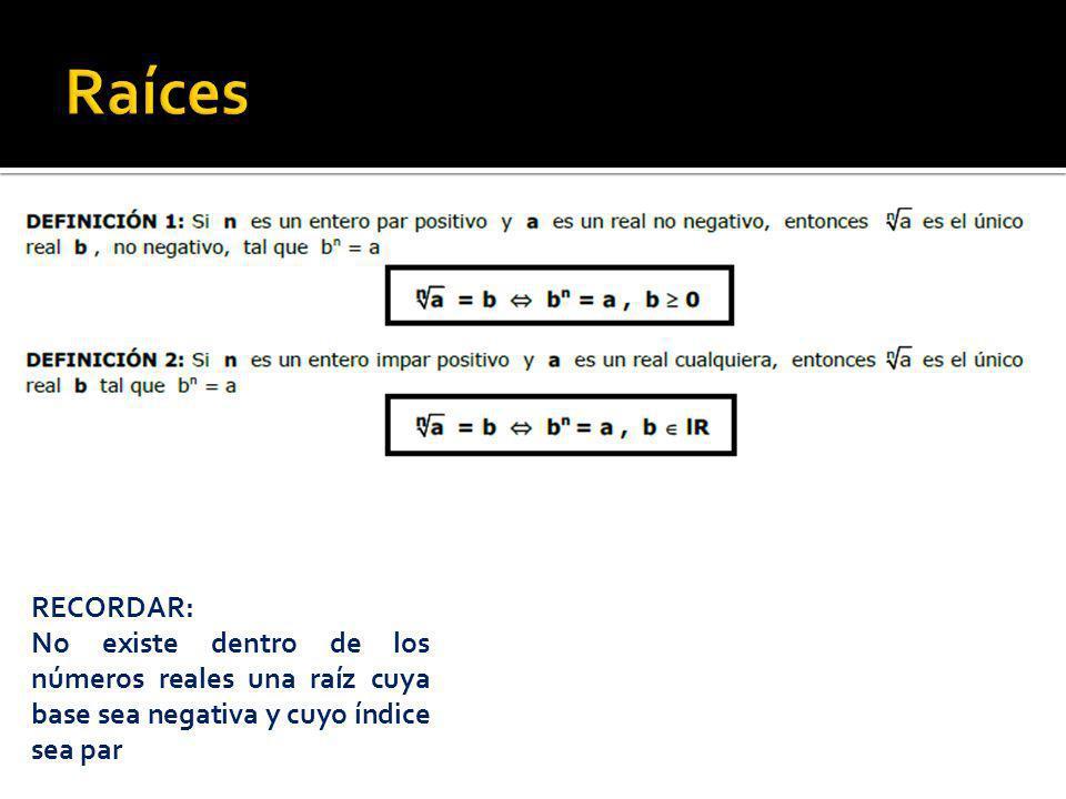 Raíces RECORDAR: No existe dentro de los números reales una raíz cuya base sea negativa y cuyo índice sea par.