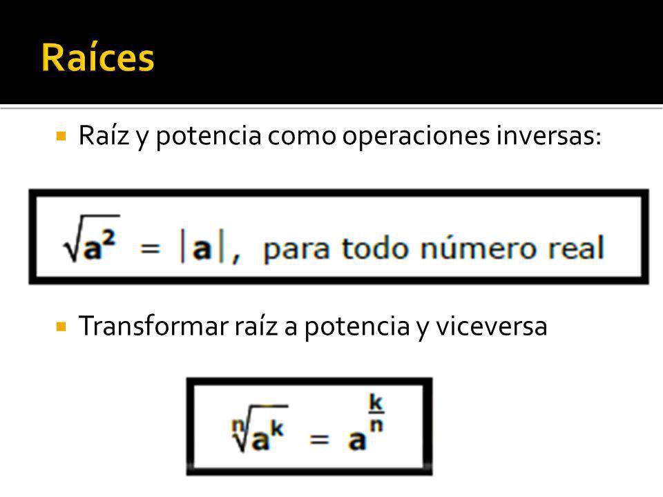 Raíces Raíz y potencia como operaciones inversas:
