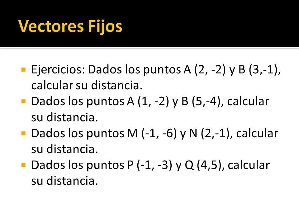 Vectores Fijos Ejercicios: Dados los puntos A (2, -2) y B (3,-1), calcular su distancia.